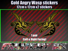 Pair of GOLD Angry Wasp Stickers laptop helmet bike car scooter vespa hornet